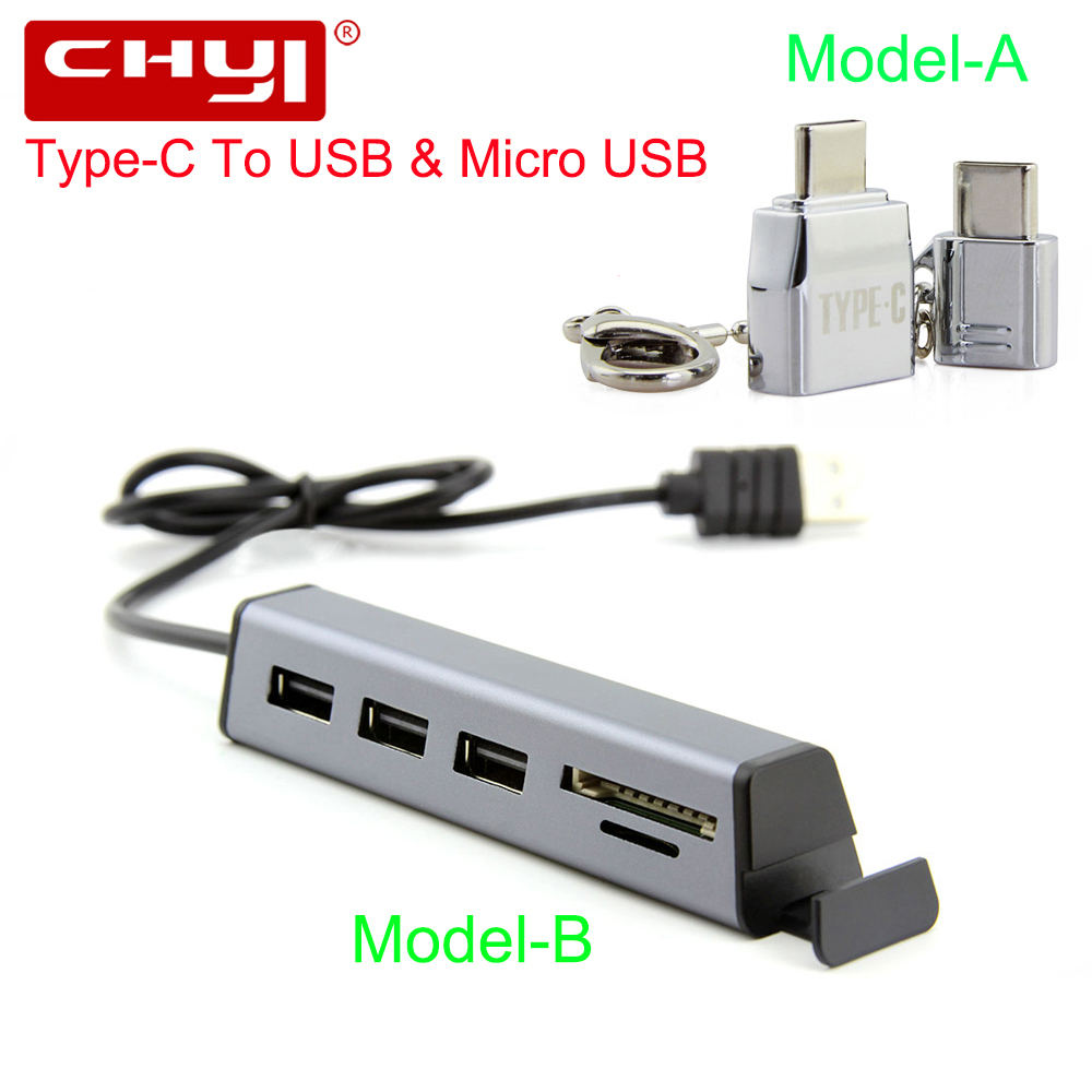 CHYI USB Type-C HUB USB-C To 3 Port USB2.0 With SD/TF Card Reader Phone holder Type C Micro USB OTG Splitter Adapter For Phone