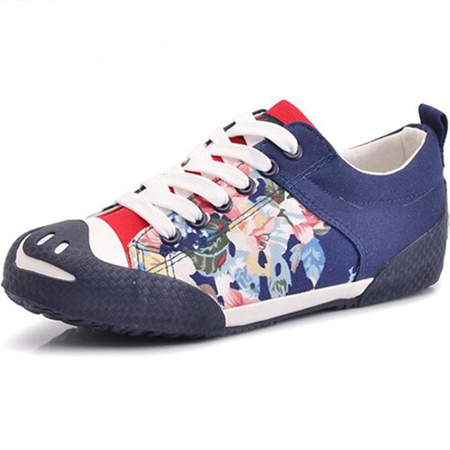 Impresión floral de la moda zapatos de las mujeres nueva primavera boca abierta chaussure femme zapatos casuales suela de goma antideslizante calza el envío libre