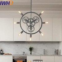 IWHD Iron Loft Style Vintage Pendant Lights Retro Industrial Lamp Black cage Hanging Lamp Kitchen Wicker Luminaire Suspendu