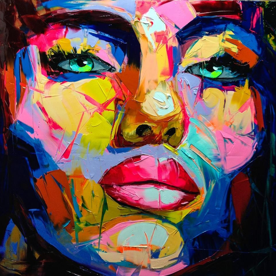 Handmade Knife Painting Abstract Face Painting Impasto ...