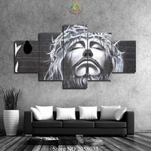 4 or 5 Pieces Black Jesus Pictures Print Canvas HD Printed Painting Wall Art Modern for Home Decor