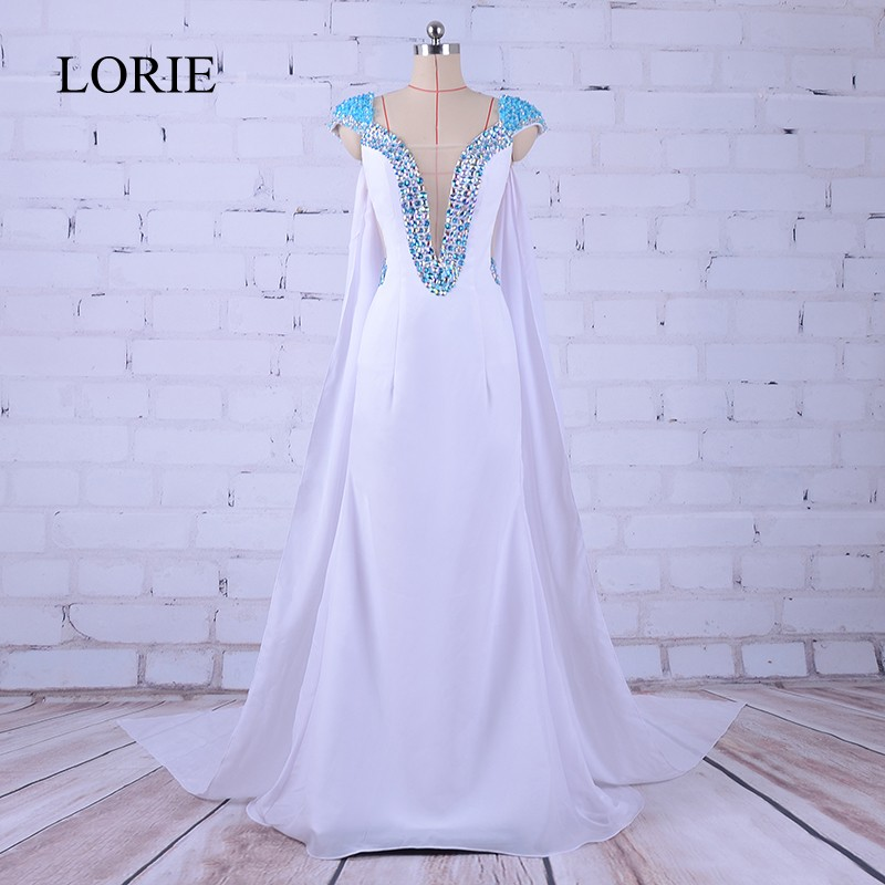 White   Evening     Dress   With Cape Aendkleider 2017 LORIE Mermaid Prom   Dresses   Crystals Long Formal Party   Dresses   China Custom Made