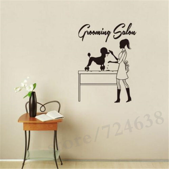 Beautician And Dog Vinyl Wall Sticker Perfessonal Pet Grooming Salon Shop Wall  Decals Petshop Decoration