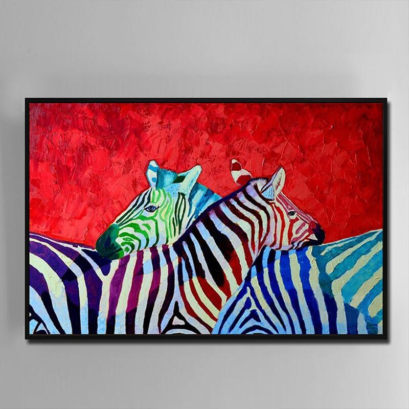 100% ручная роспись Абстрактная Современная красочная зебра картина маслом на холсте настенная живопись для гостиной дома drcor