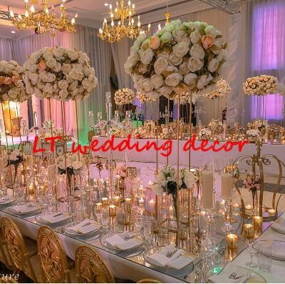 new style Wedding Metal Gold Color Flower Vase Column Stand for Wedding Centerpiece Decoration 10pcs/lot