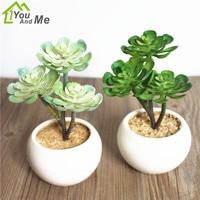 1 Set Flower Bonsai 3 Head Artificial Succulents Green Lotus Plant Round Ceramics Flowerpot Home Office