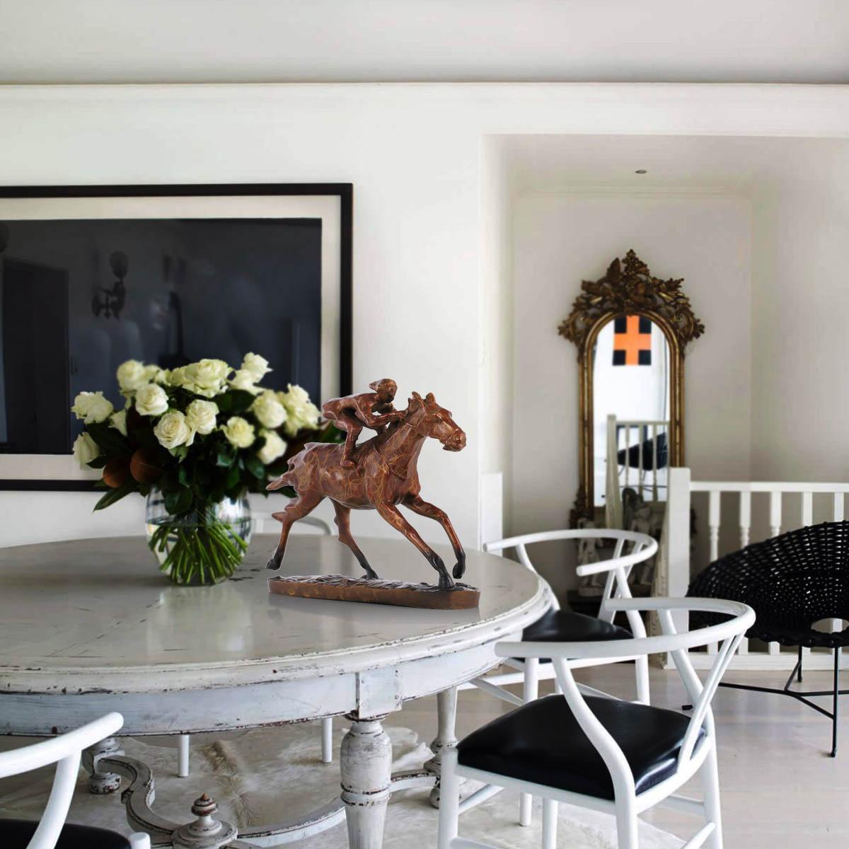 Original designed animal horse racing modern sculpture bronze sculpture decorative accessories for room home animal sculpture in statues sculptures from