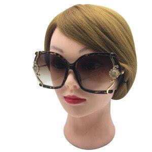Image 4 - יוקרה חדש לגמרי נשים משקפי שמש עם תחרה עדינה ריינסטון קישוט חצי ללא מסגרת משקפי שמש נשים