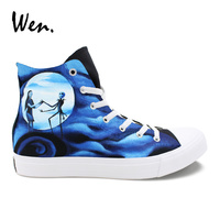 Wen Thin Single Casual Flat Nightmare Before Christmas Hand Painted Vulcanize Shoes Men High To Help Sneakers Women Plimsolls