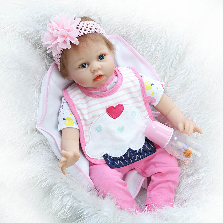 "22"" silicone reborn dolls realistic girl princess dolls pink clothes magnetic mouth pacifier children gift bedtime toy bonecas"