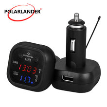 4 in 1 12V 24V Watch Thermometer 2.1A Dual USB LED