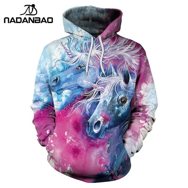 NADANBAO 2018 New Arrival Unicorn Hoodies 3D Printed Hiphop Kawaii Unicornio Hooded Women Sweatshirt