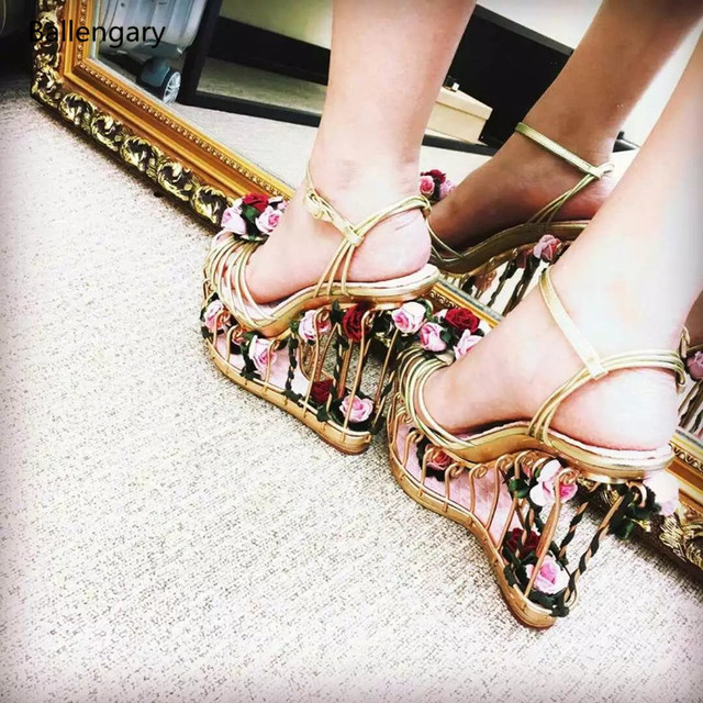 d65b56cd69df Supper High Platform Sandals Beautiful Flowers Embellished Gold Cage Women  Wedges Luxury Handmade Gladiator Sandals Women Shoes