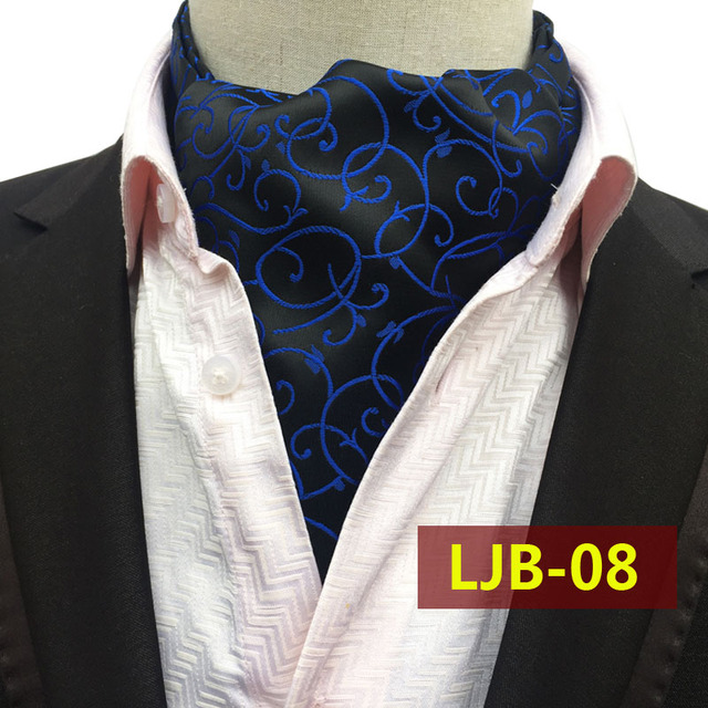 Большой Размер Моды для Мужчин Роскошный Воротник Платок Черный Синий Классические Цветочные Цветы Шейные Платки для Свадебного Банкета