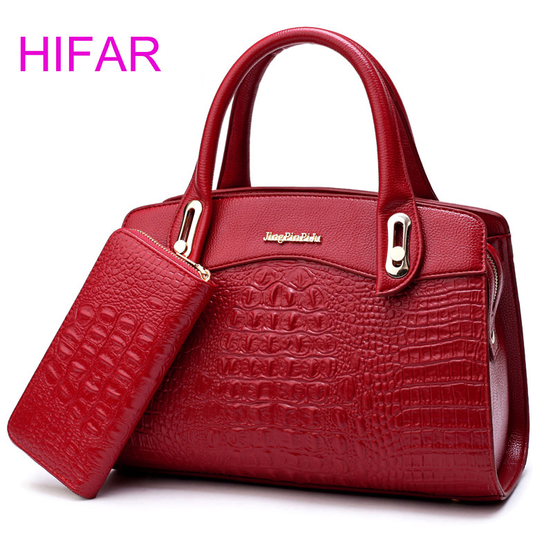 New Women Bag Crocodile Pattern Embossed Leather Two Set Purse and Handbags Famous Brands Designer Handbag Female Shoulder Bags 2018 yuanyu 2016 new women crocodile bag women clutches leather bag female crocodile grain long hand bag