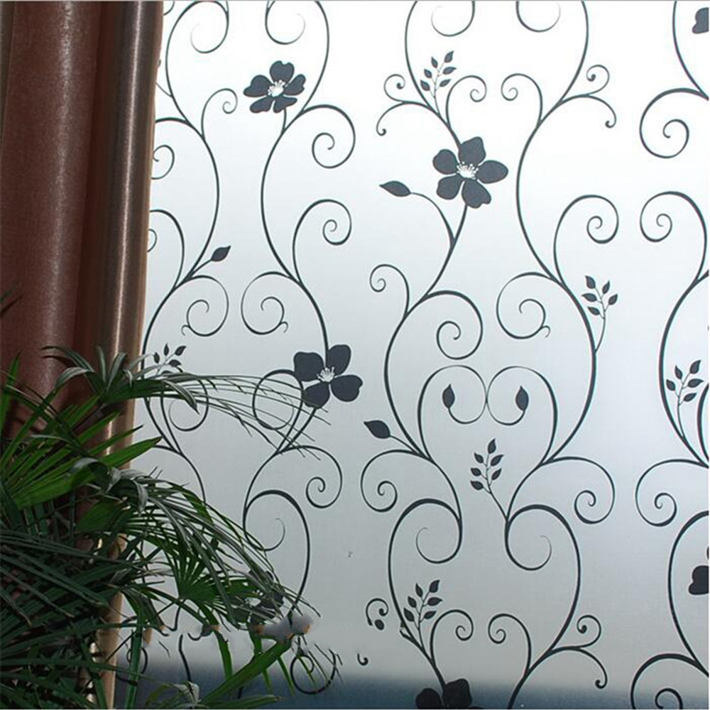 45x100cm Hsxuan brand PVC frosted opaque privacy decorative 3D window film home decoration self sticking glass stickers