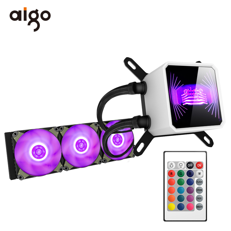 Aigo CPU Water Cooler 120mm Mute PC Fan Liquid Fluid Cooling Radiator Aluminum Water Cooler 12V RGB PC Case Cooler Watercooler-in Fans & Cooling from Computer & Office