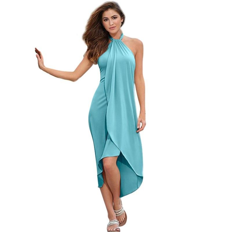 ᓂMujeres verano Boho Halter Maxi fresco evening party vestido largo ...