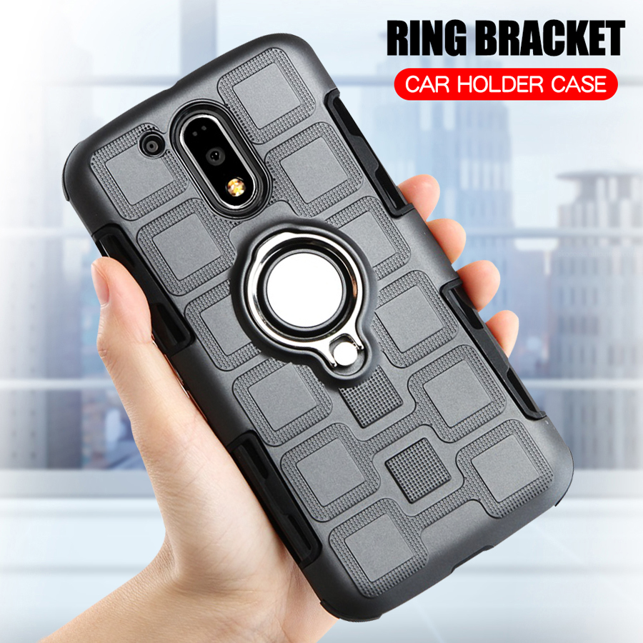 Cover For Motorola Moto G4 Plus Silicone Shockproof Phone Case Luxury Armor Anti-Fall Back Ring Stand