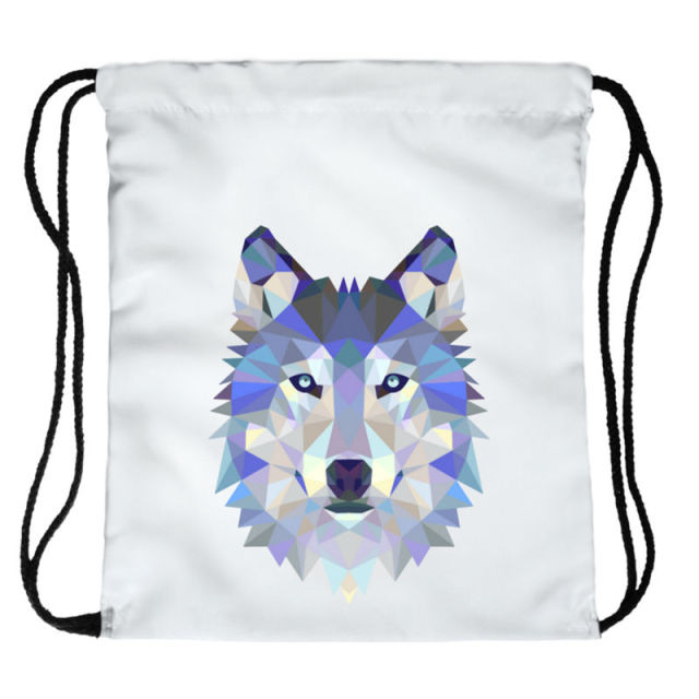 Women's Polygon Wolf Printed Drawstring Bag