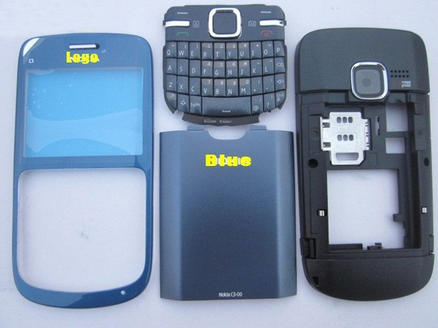 For Nokia C3 C3-00 Full Housing Cover With keypads Complete Replacement Blue Case; Free Shipping