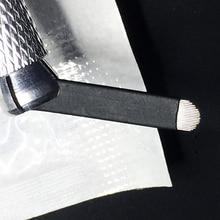 50 PCS 18 핀 U 모양 0.20MM 귀영 나팔 바늘 3D Microblading를위한 영원한 메이크업 눈썹 자수 잎 수동 귀영 나팔 펜