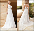 2016 Charming New Model Designer White Chiffon Sexy Wedding Dress