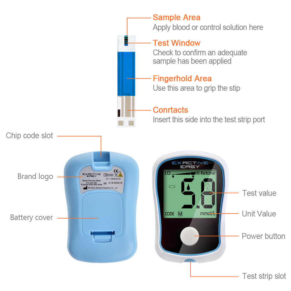 ELERA CE FDA Blood Glucose Meters glucometer Monitor Diabetics Test  glycuresis Monitor 50 strips +50 Needles blood Sugar
