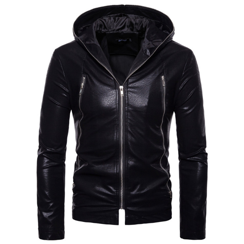 Europe/US Size New Men's Leather Jackets Autumn Loose Zippers Motorcycle Leather Jacket Hooded Black Biker Jacket Male Outwear