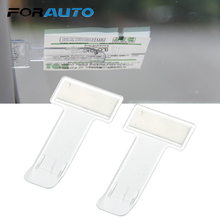 FORAUTO 1 Pair Car Windscreen Parking Ticket Clip 3M Sticker Windscreen Mini Practical Clear Permit Holder Auto Accessories