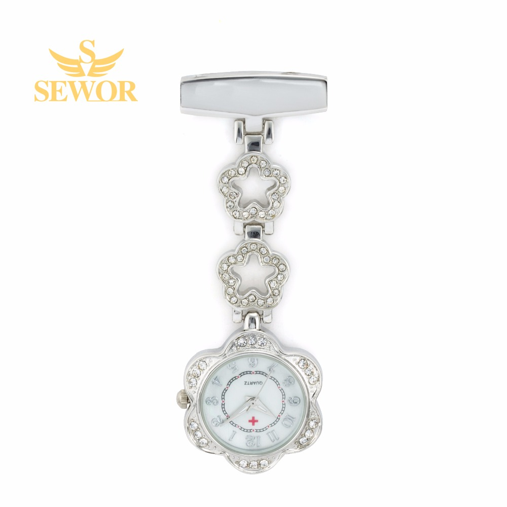 2017 SEWOR Luxury Womens Nurse Pendant Watches Chic Five star Stainless Steel Crystal Silver Pocket Watches