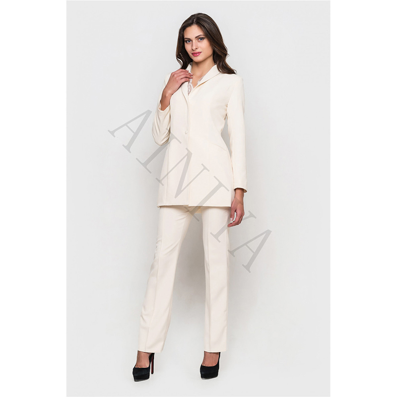 New Designs Women Business Suits Ivory Blazer For Work Wear Ladies Formal Pant Suit Office Uniform Female Trouser Suit Custom