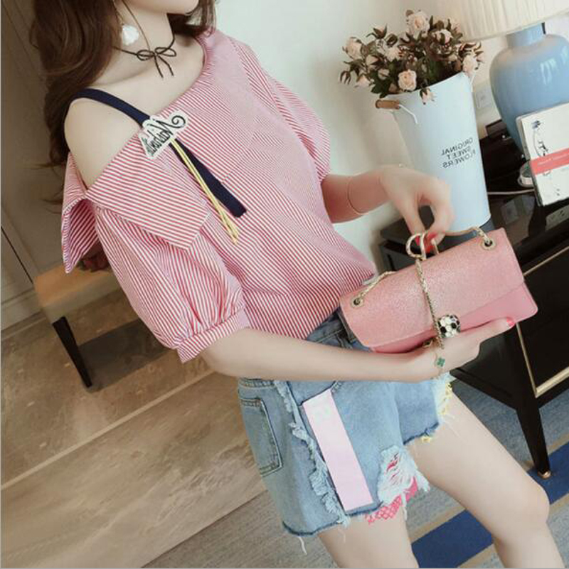Fashion Women T-shirt Striped Color Spaghetti Strap Slash Neck Off Shoulder Half Sleeve  ...