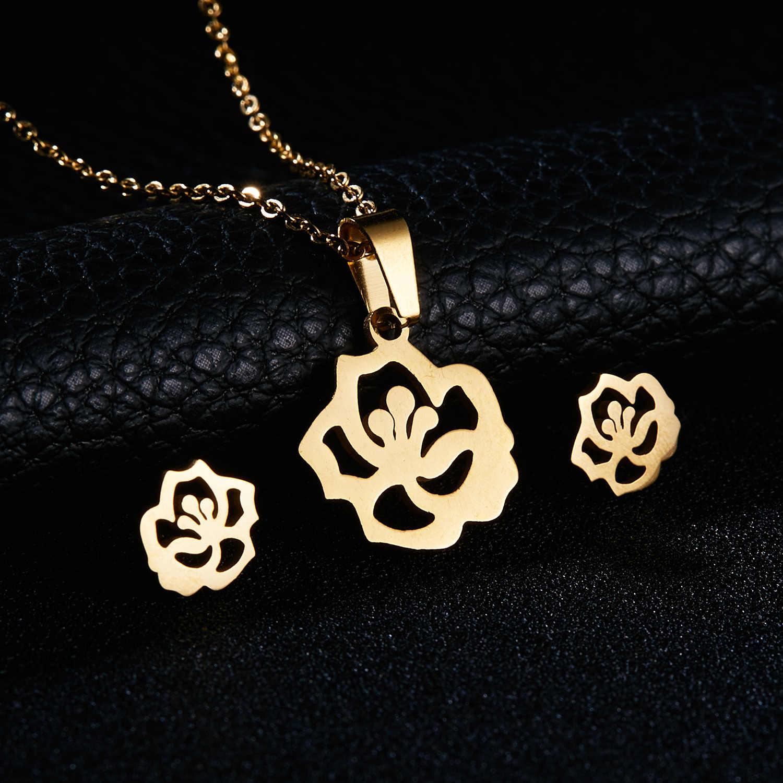 Rinhoo Gold Farbe Edelstahl Schmuck Sets Fisch Pferd Flügel Rose Blume Anhänger Halskette Ohrringe Sets Frauen Hochzeit Schmuck