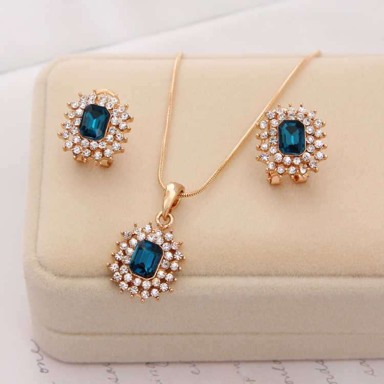 Hot African female costume Jewelry set for women Gold Crystal Rhinestone Beads Chocker Pendant Necklace earrings set wedding