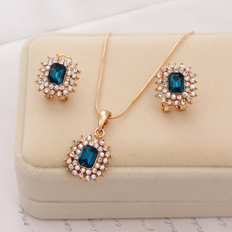 ZOSHI New Fashion Austria Crystal Earrings Necklace Sets Women Bridal Classic Wedding rhinestone romantic Jewelry Set Wholesale
