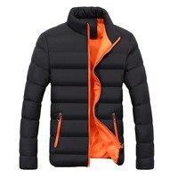 Casual Men Autumn Winter Warm Coat Slim Fit Thick Bubble Cotton Blend Solid Colour Long Sleeve