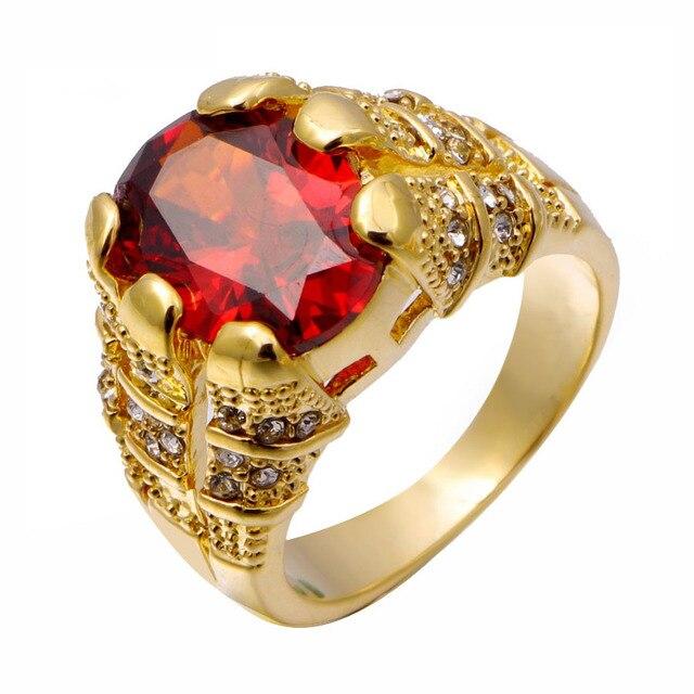 2017 New Fashion luxury Jewelry Red Garnet Male Big rings 18 K