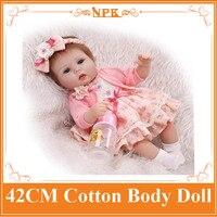 Super Cute NPK 42cm Soft Silicone Reborn Baby Doll Alive Newborn Girl Bebe Dolls In Lovely