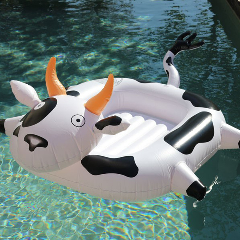 160CM 63 Inch Inflatable Cows Baby Pool Float Children Ride-On Swimming Ring Summer Water Toys Holiday Beach Party Boia Piscina