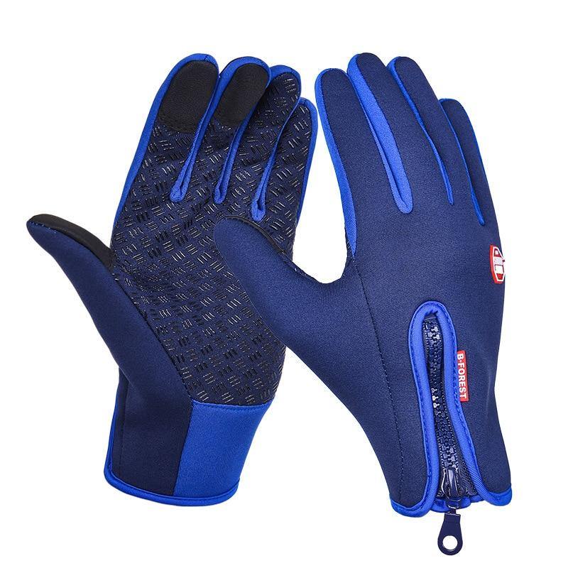 Унисекс тачскрин зима Тепловая Теплая велосипедная Лыжная уличная походная мотоциклетная перчатки спортивный с полными пальцами - Цвет: Dark Blue