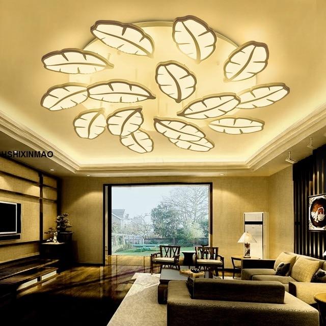New Banana Leaf LED Ceiling Lamp Post Modern Living Room Restaurant Main  Bedroom Light Warm