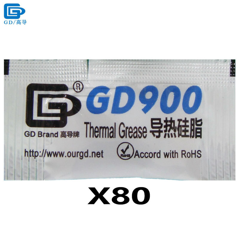GD900 Thermal Paste Grease Silicone Heat Sink Compound High Performance 80 Pieces Gray Net Weight 0.5 Gram For CPU Cooler MB05 цена и фото