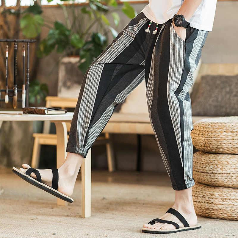 Men s Striped Harem Pants Summer Cotton Linen Casual Trousers Plus Size M 5XL  Male Loose Hip de7aac684faa