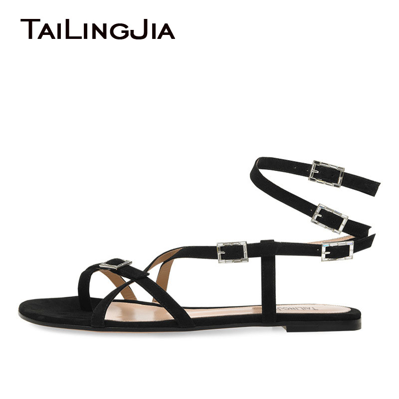 Women Comfy Black Sandals Woman Shoes Buckle Faux Suede Plus Size Beach Ladies Fashion Wholesale