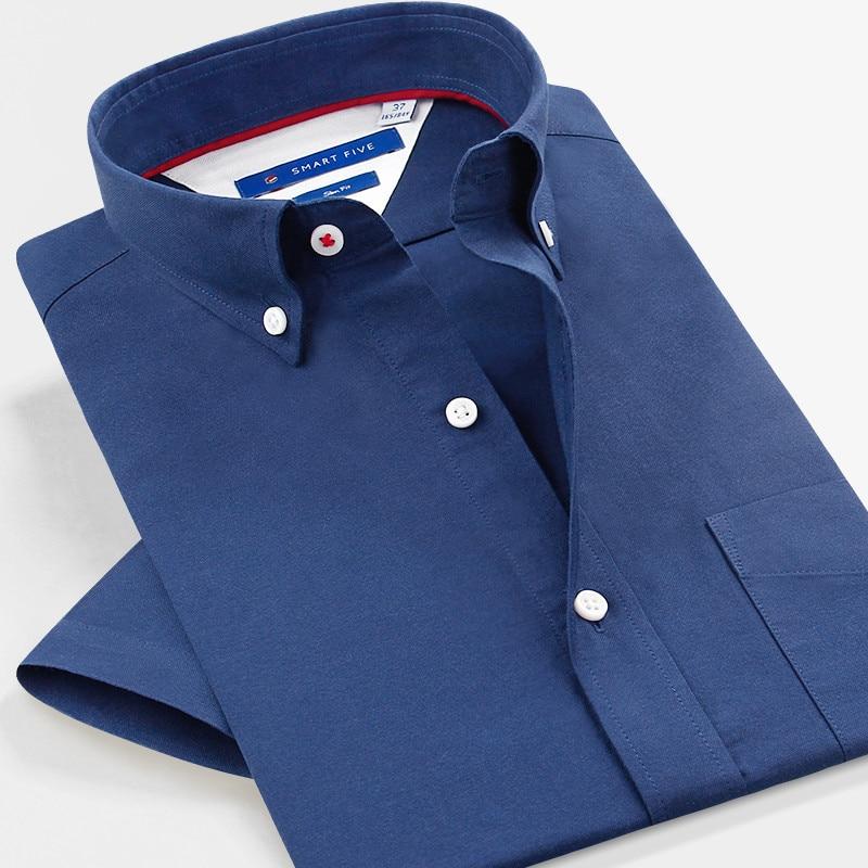 Smartfive Oxford camisas de vestir de los hombres de manga corta de - Ropa de hombre