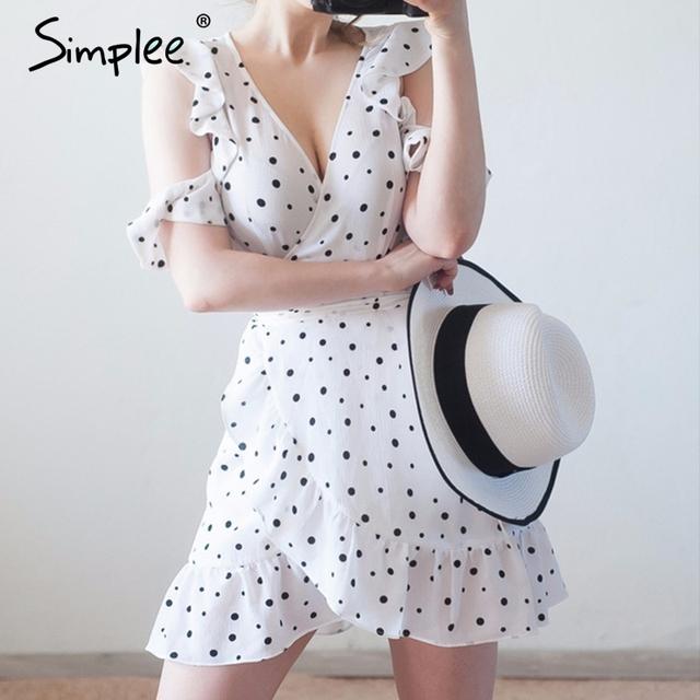 Simplee Ruffle cold shoulder polkadot print summer dress Vintage irregular bow wrap short dress Women chic chiffon white dress