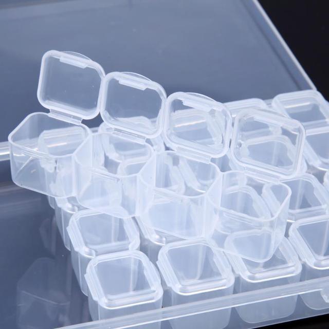 28 Slots Clear Plastic Storage Box Home Storage Jewelry Rhinestone Storage Box Case Organizer Holder for Rhinestone Nail Art