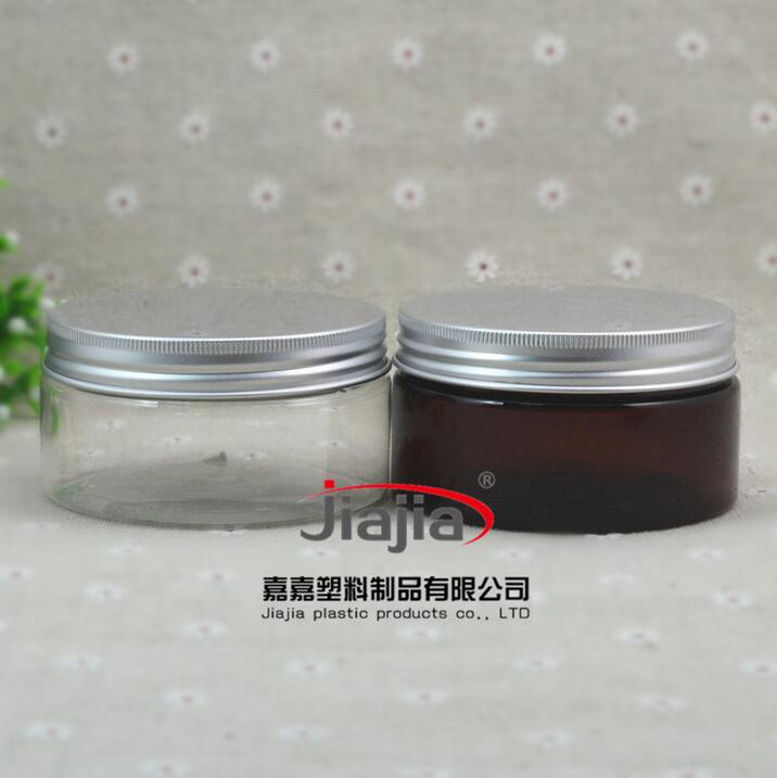 200g clear/brown PET Plastic Container Transparent Bottle PET Jar 200ml Cookie Can Cream Jar with silver Aluminum cover
