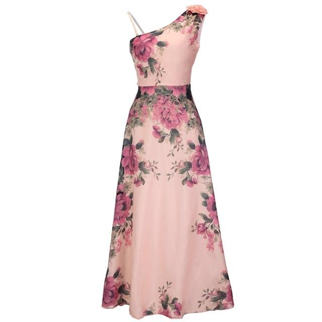 5f8aa52a1b0 Trendy Elegant Party Dresses Women Summer Autumn Fashion Pink Slim A Line  Chiffon Vintage Long Maxi Dress Ladies Party Wear